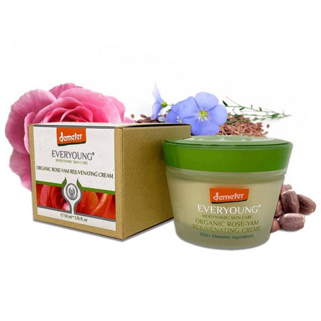 Bio rózsa-yam rejuvenáló arckrém (90%+ Demeter) - 50 ml