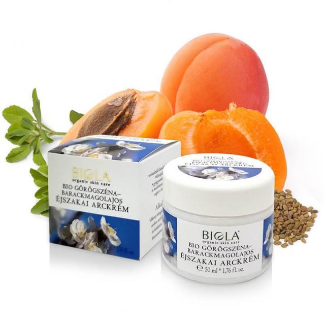 Bio görögszéna-barackmagolajos éjszakai arckrém - 50 ml